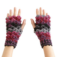 Crocheted Croc Stitch Handwarmers - Pink