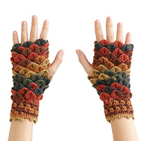 Crocheted Croc Stitch Handwarmers - Orange