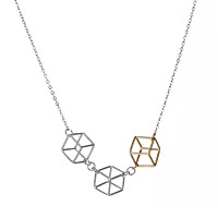 3D Cube Trio Necklace