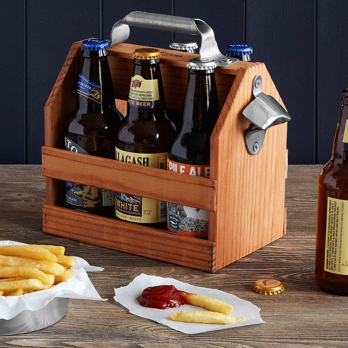 WOODEN BEER CADDY WITH BOTTLE OPENER   six pack   UncommonGoods