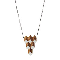 Salvaged Furniture Wood Crystalline Necklace