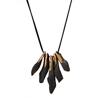 Hand Forged Slate and Bronze Statement Necklace