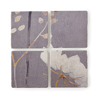 White Flower Marble Coaster Set