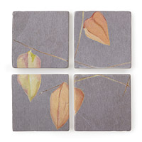 Orange Lantern Marble Coaster Set