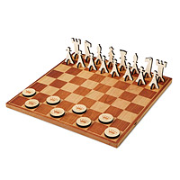 Cherry Wood Chess and Checkers Set