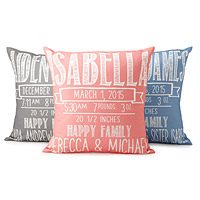 CHALKBOARD BIRTH ANNOUNCEMENT PILLOWS