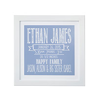 CHALKBOARD BIRTH ANNOUNCEMENT FRAMED ART