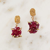 Ruby Crystal Talisman Earrings