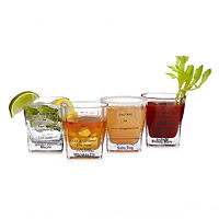 Cocktail Recipe Glasses - Set of 4