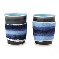 Classic Blue Tea Cup with Felt - Set of 2