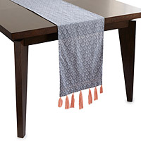 Reversible Block Print Tassel Table Runner