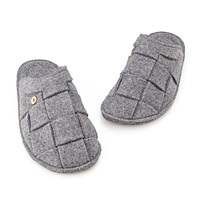 Crosshatch Grey Wool Slippers