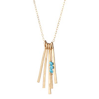 Hand Hammered Gold and Turquoise Necklace