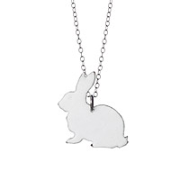 White Rabbit Enameled Necklace