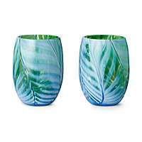 Feather Stemless Wine Glasses - Set of 2