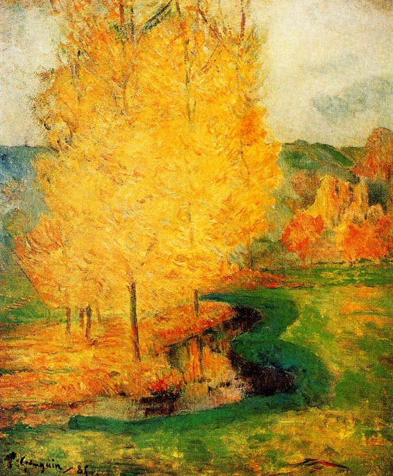 """Paul Gauguin,""""By the Stream, Autumn"""" in WikiPaintings"""