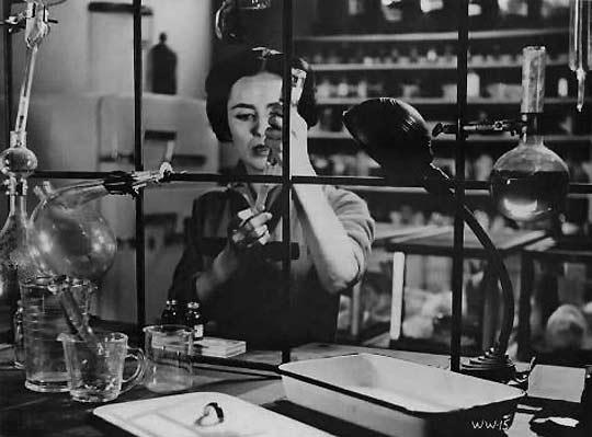 Actress Susan Cabot as a chemist inventor Janice Starlin in the 1959 Roger Corman film, The Wasp Woman