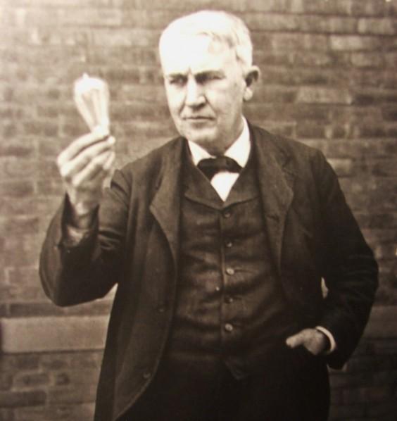 Thomas Edison with lightbulb