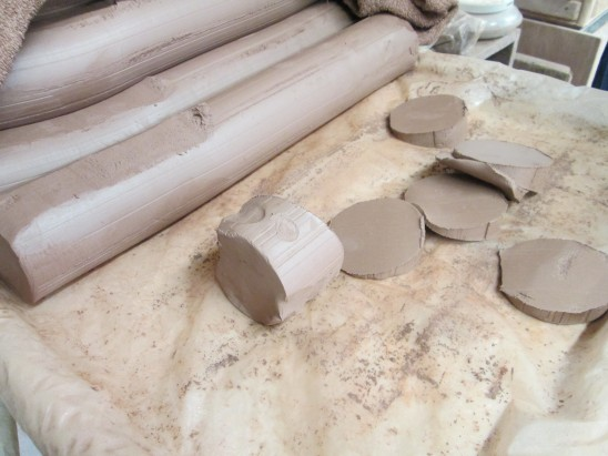 Cuts of Clay ready to mold