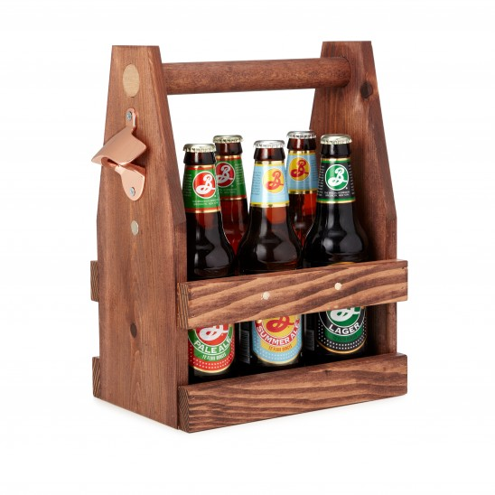 Wooden Beer Tote | UncommonGoods