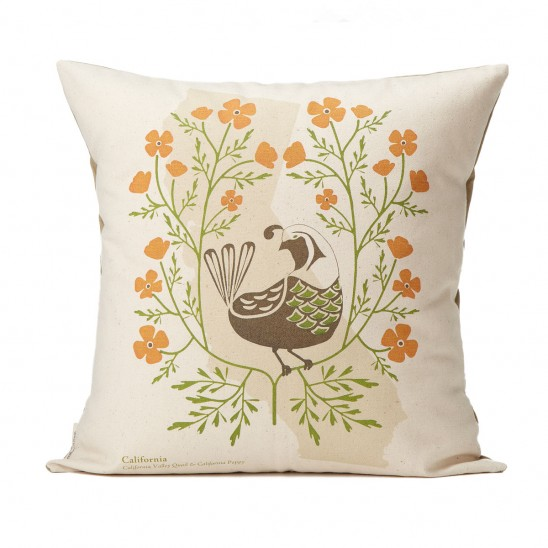 Birds and Blooms State Pillow | UncommonGoods