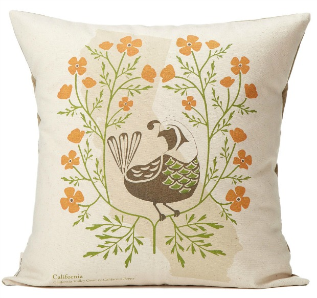 Birds and Bloom State Pillow | UncommonGoods