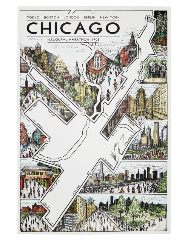 Chicago Marathon Map | UncommonGoods