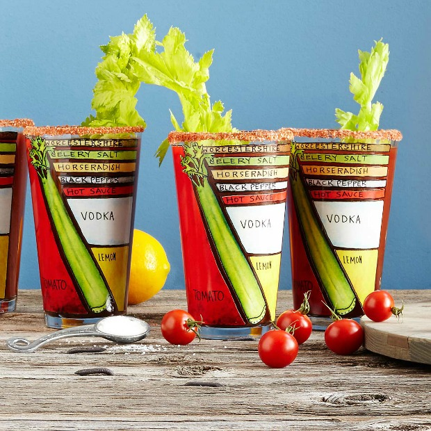 Bloody Mary Diagram Glasses - Set of 2 | UncommonGoods