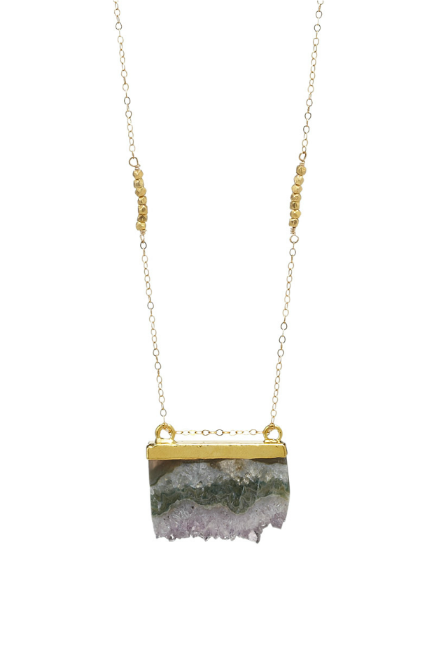 Golden Slice Agate Necklace | UncommonGoods