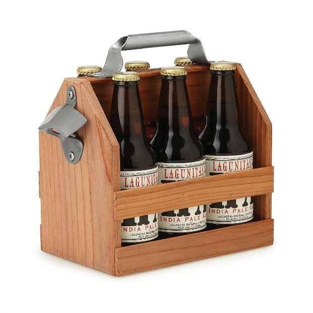 Wooden Beer Caddy | UncommonGoods
