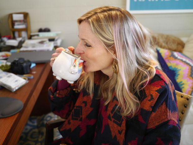 Jen with Elwood the Rainbow Unicorn Mug