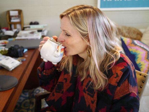 Jen with Elwood the Rainbow Unicorn Mug