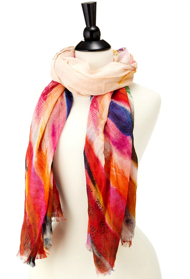 Painterly Feathers Scarf | UncommonGoods