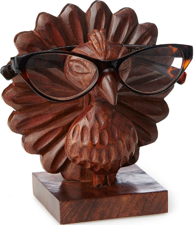 Perry the Carved Peacock Eyeglasses Holder - UncommonGoods