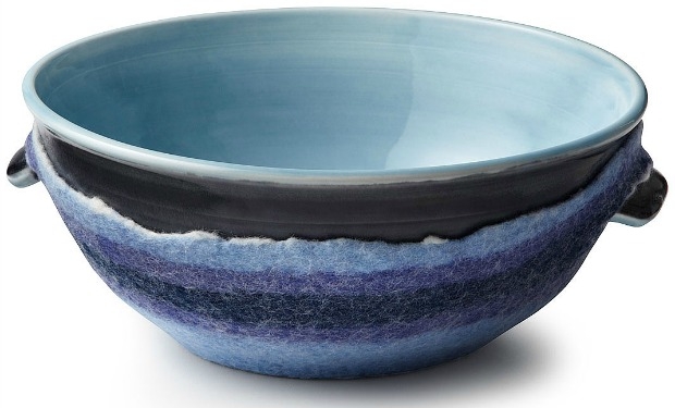 Classic Blue Serving Bowl with Felt | UncommonGoods