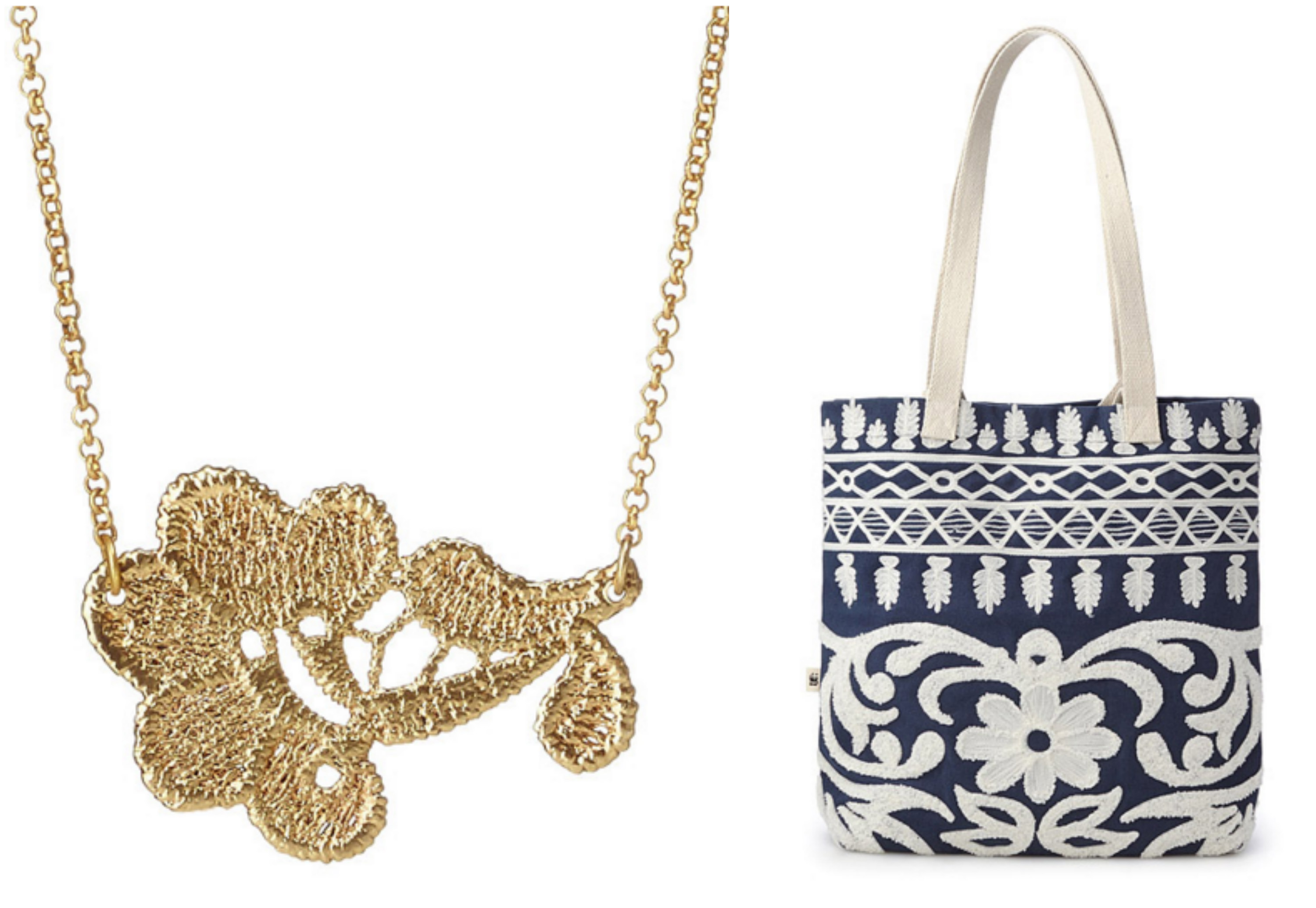 Gold Lace Necklace & Flora Embroidered Tote|UncommonGoods