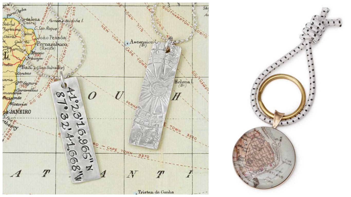 Latitude Longitude Pendent & Bronze Custom Map Key Ring|UncommonGoods