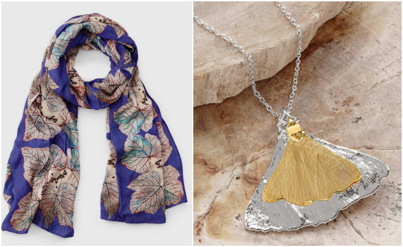 Impression Leaf Scarf & Gold On Silver Ginkgo Leaf Necklace|UncommonGoods