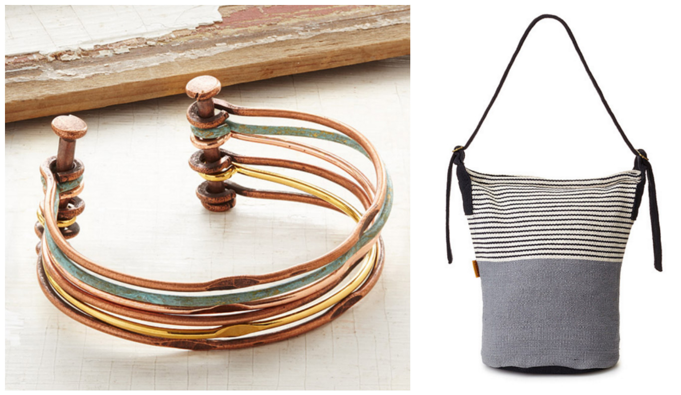 Mixed Metals Hinged Cuff & Woven Daily Crossbody Bag|UncommonGoods