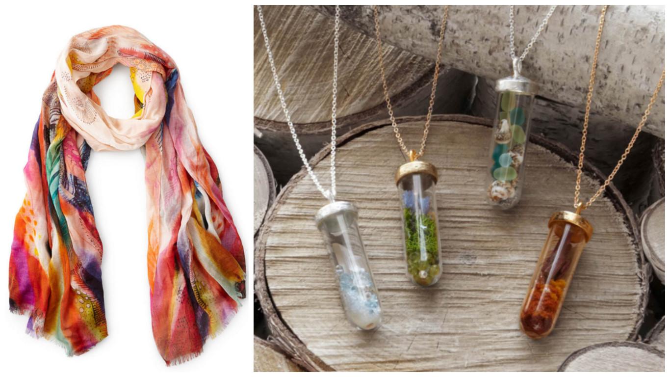 Painterly Feathers Scarf & Seasons Terrarium Necklaces|UncommonGoods