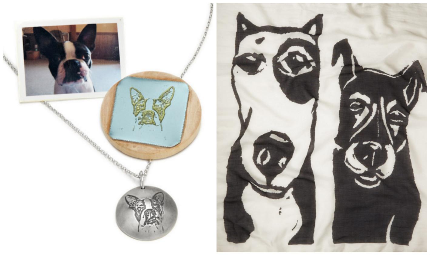 Custom Pet Portrait Pendent & Dogs- Art Photo Print Scarf|UncommonGoods