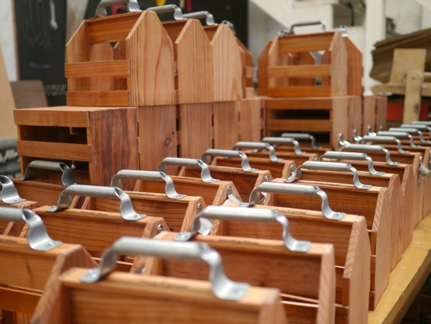 Wooden Beer Caddies by Christopher and David Steinrueck
