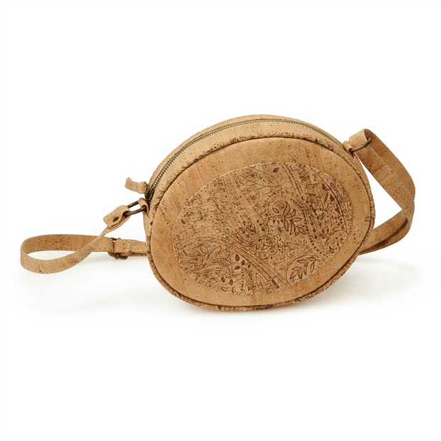 Natural Cork Oval Crossbody Bag   UncommonGoods