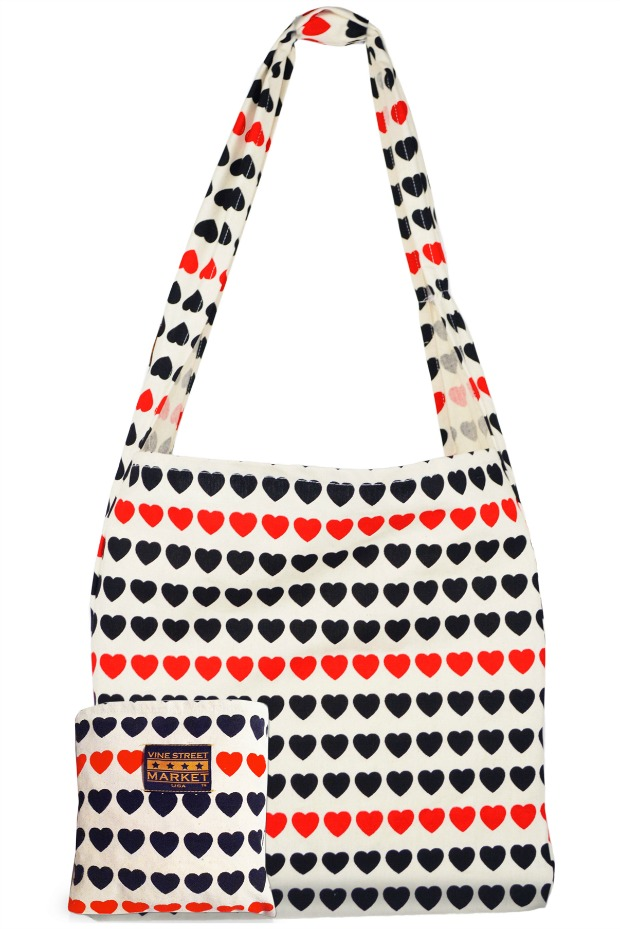 I Love Hearts Large Canvas Market Bag | UncommonGoods