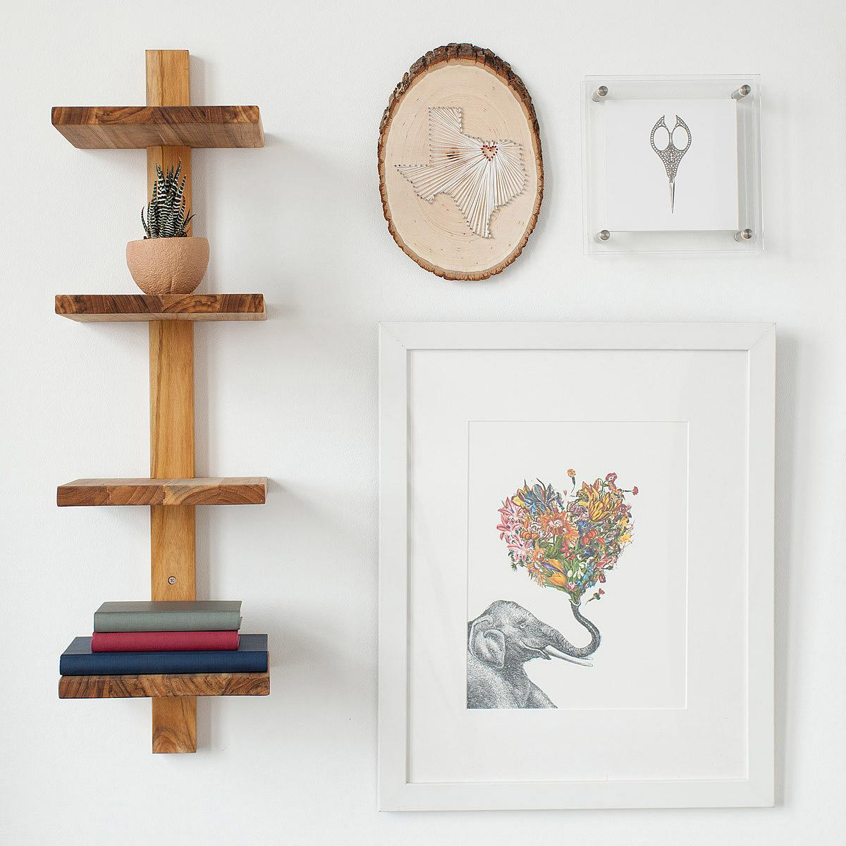 Minimalist Teak Wall Shelf | UncommonGoods