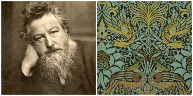 L: William Morris; R: Morris' Peacock and Dragon textile design, 1878 [both Wikimedia]