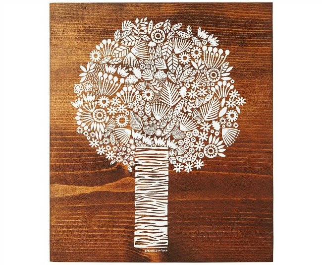 Silkscreened Tree Plaque | UncommonGoods