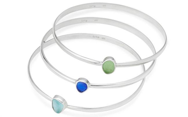 Sea Glass Bangle Bracelets | UncommonGoods