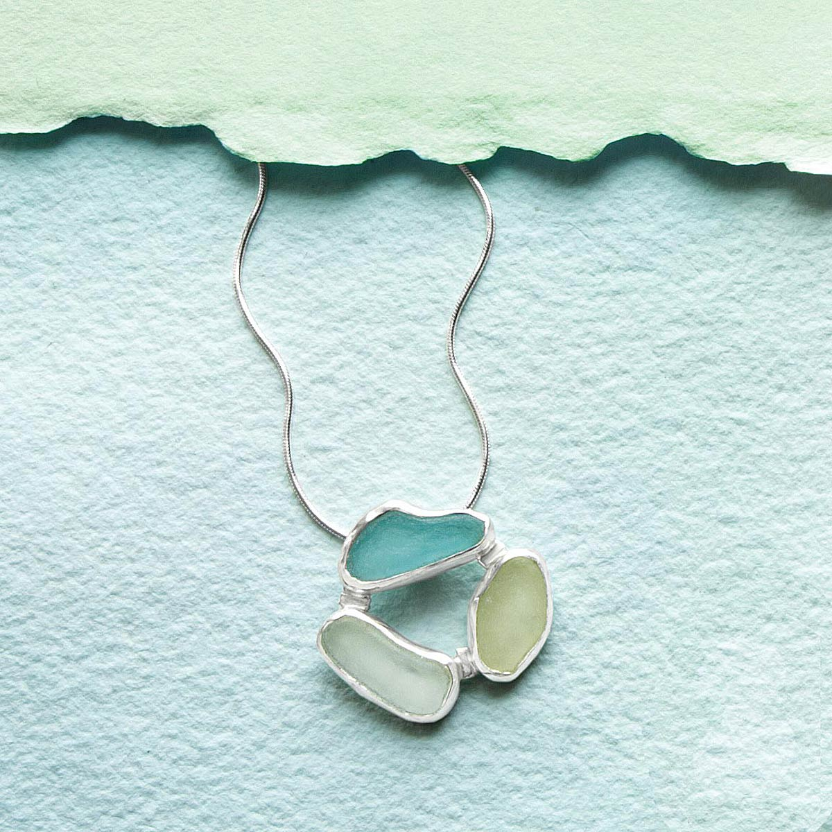3 Stones Sea Glass Necklace | UncommonGoods