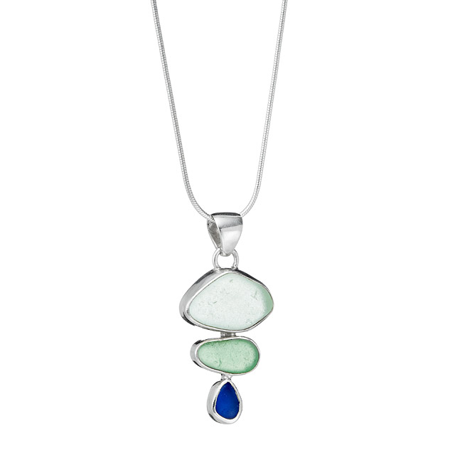 Sea Glass Trio Bezel Necklace | UncommonGoods